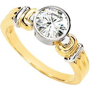 Two Tone Bezel Set Moissanite Engagement Ring*