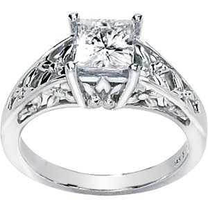 """""""Flowers in Bloom"""" Moissanite Solitaire Engagement Ring"""
