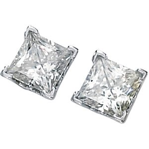 Princess Style Square Brilliant Cut Moissanite Stud Earrings .75 ct tw