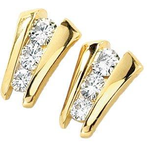 Moissanite 3-Stone Ladder Earrings*