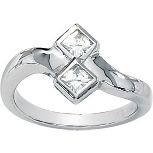 Square Brilliant Cut (Princess Style) Moissanite Promise Ring