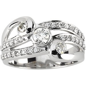 "Moissanite & Diamond ""Waves"" Right Hand Ring"