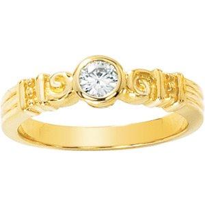 Retro Style Round Moissanite Ring