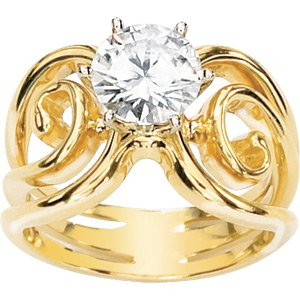 Modern Celtic Design Moissanite Solitaire Ring*