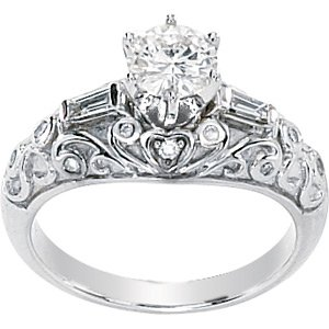 Moissanite & Diamond Baguettes Engagement Ring