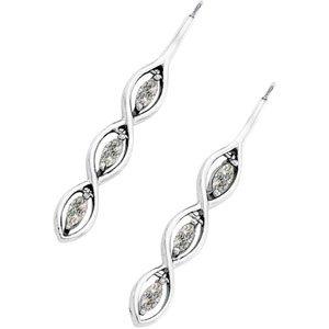 3-Stone Vertical Moissanite Marquise Earrings