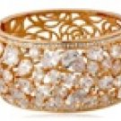 VANCY 18K Gold Plated Alloy Jeweled Stencil Floral Bracelet