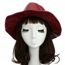 VANCY Chic Women Men Fedora PU Leather Pinched Crown Wide Brim Jazz Hat Cap