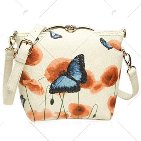VANCY Twist-Lock Butterfly Print PU Leather Crossbody Bag