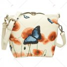 VANCY Twist-Lock Butterfly Print PU Leather Crossbody Bag