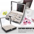 VANCY 8 Grids Leather Glasses Watch Display Box Collection Glass Cover Organizer Storage Case