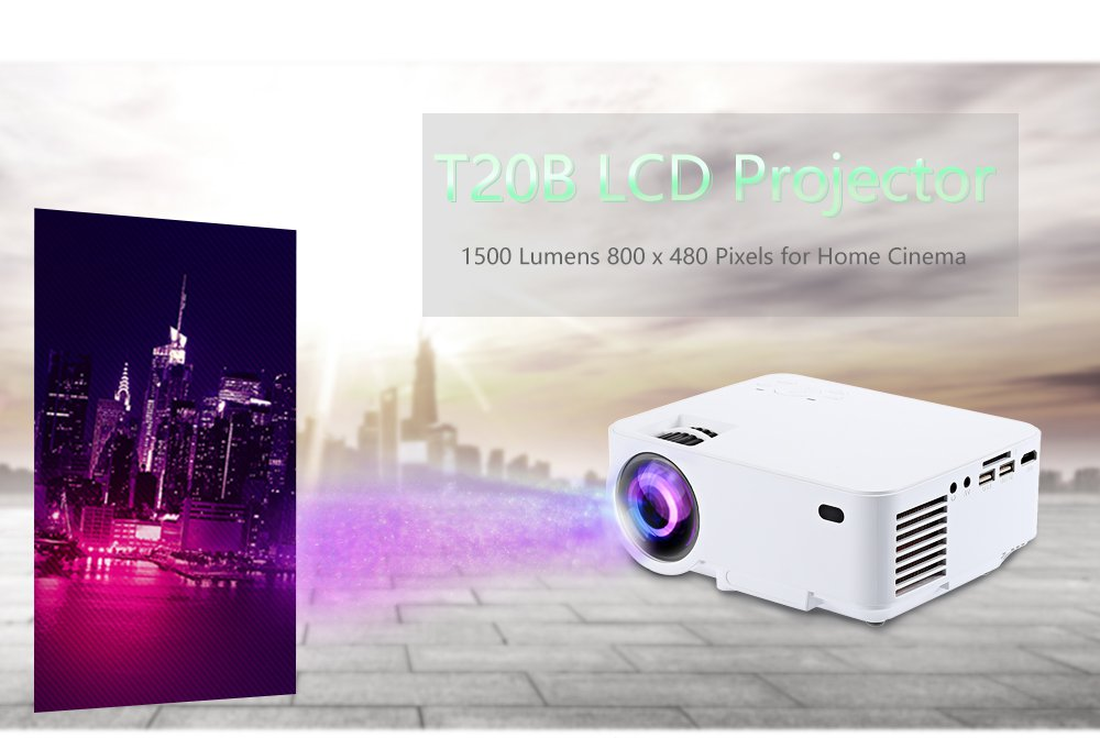 VANCY T20B LCD Projector Android 4.4.4 HDMI IN 1500LM 800 x 480 Pixels 2.4GHz WiF
