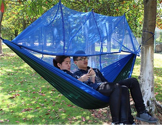 VANCY  2-Person 200KG Loading Parachute Nylon Fabric Hammock with Mosquito Netting for Camping