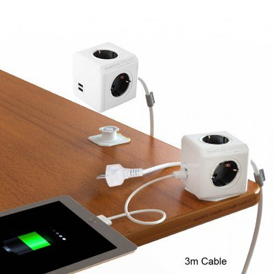 VANCY 1Piece Allocacoc DE Plug PowerCube Power Socket 4Outlets Two USB Ports Extended 3m Cable