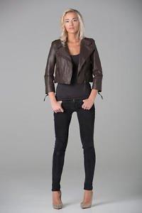 Polar whites Womens Cropped 100% Leather Brown Biker Jacket