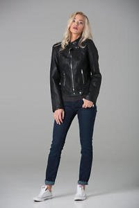 POLAR WHITES WOMEN LADIES BLACK FAUX LEATHER COLLARLES R1 BIKER JACKET (RRP £64)
