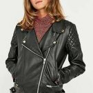 POLAR WHITES WOMENS LADIES BLACK FAUX LEATHER QUILTED BIKER JACKET RRP £59