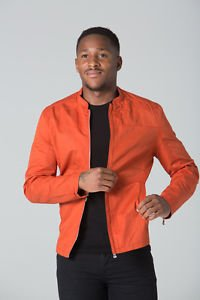 POLAR WHITES MENS ORANGE PLAIN RACING BIKER JACKET RRP £49.99