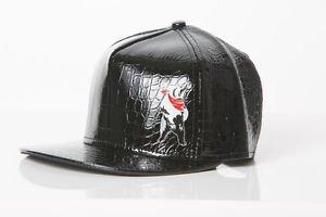 Polar whites mens black faux leather Snake print cap