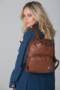 POLAR WHITES BROWN QUILTED BACKPACK WITH ZIP POCKET (STYLE4)