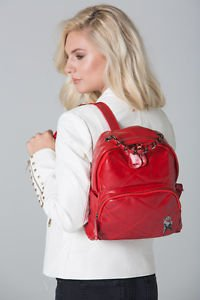 POLAR WHITES RED QUILTED BACKPACK WITH ZIP POCKET (STYLE7)