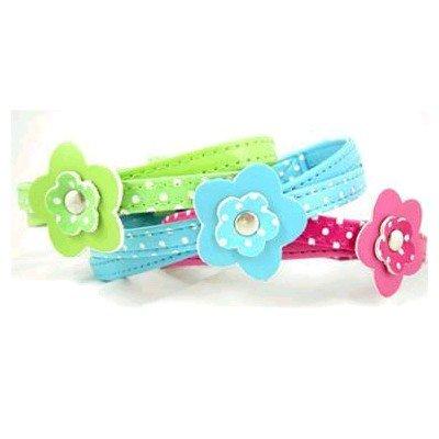 Pink Polka Flower Dog Collar