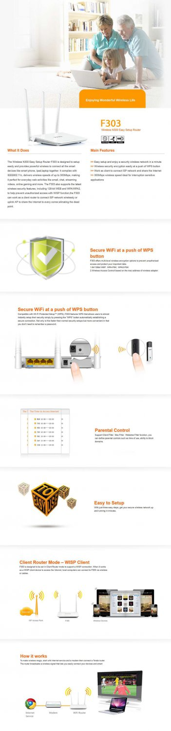 Tenda Wireless N Router 10/100Mbps LAN Ports 300Mbps 3x Fixed Omni Directional