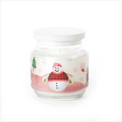 SNOWMAN GLASS JAR CANDLE