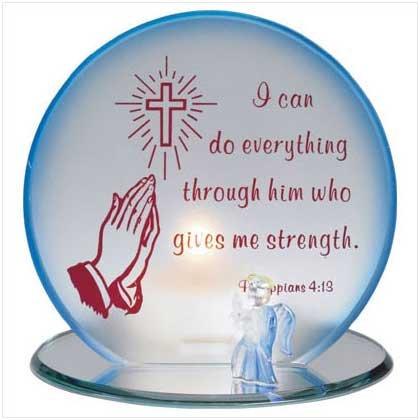 GLASS PRAYING HANDS CANDLEHOLDER