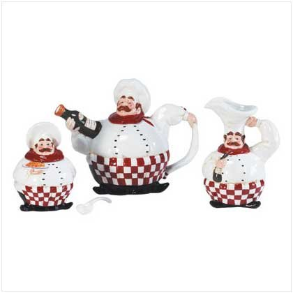 CHEF TEAPOT CREAMER & SUGAR SET