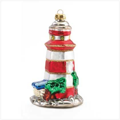 LIGHTHOUSE MERCURY GLASS ORNAMENT