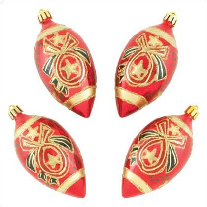 RED & GOLD EGG SHAPED ORNAMENTS
