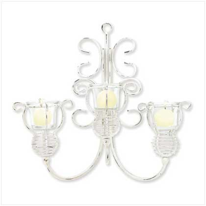DISTRESSED SCROLLWORK CANDLEHOLDER