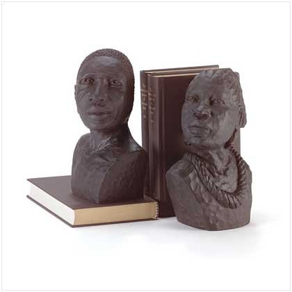 EBONY MAN AND LADY BOOKENDS