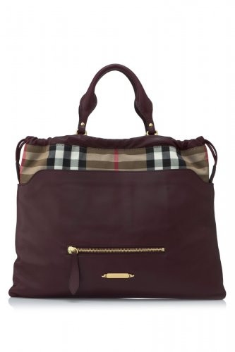 Burberry Authentic Shoulder Handbag Leather and Canvas House Check Tote - Deep Claret