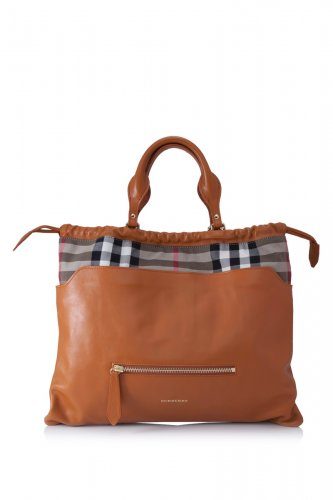 Burberry Authentic Shoulder Handbag Leather and Canvas House Check Tote - Copper Orange