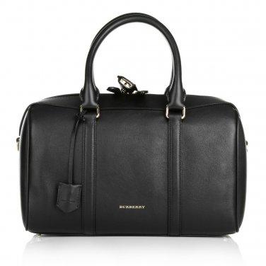 Burberry Authentic Shoulder Leather Handbag Alchester Armour Bowling Bag - Black