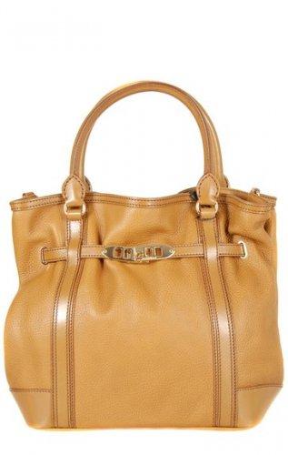 Burberry Authentic Leather Handbag Canvas Lining 'Golderton' Tote Bag -Mid Camel
