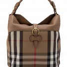 Burberry House Check Horseshoe Leather Medium Sycamore Hobo Handbag - Dark Sand