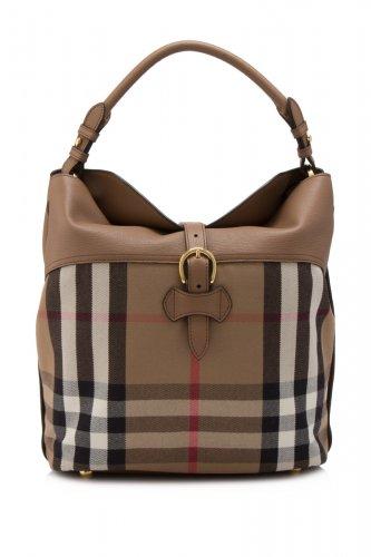 Burberry House Check Horseshoe Leather Medium Sycamore Hobo Handbag - Dark Sand
