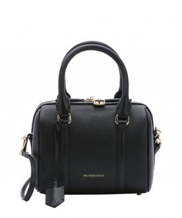 Burberry Authentic Leather Satchel Handbag Small Convertible Bowling Bag - Black