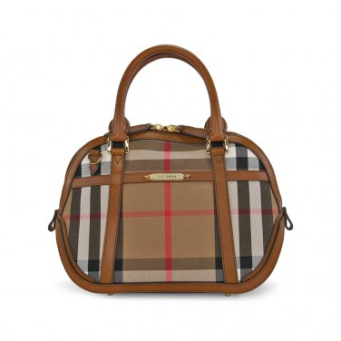 Burberry Authentic Leather and Sartorial House Check Bowling Bag - Brown Ochre