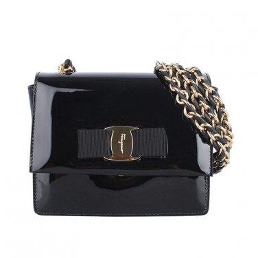 Salvatore Ferragamo Authentic Leather Handbag 21E479 Ginny Shoulder Bag - Black