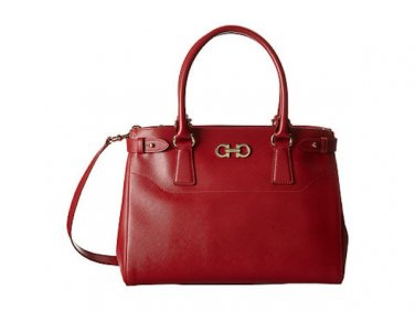 Salvatore Ferragamo Authentic Leather Handbag 21D940 Med Double Gancio Tote Bag