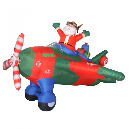Santa's Animated Inflatable Christmas Airplane With Spinning Propellers