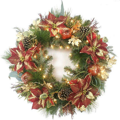 "32"" Pre-Lit Christmas Holiday Wreath w/Poinsettia"