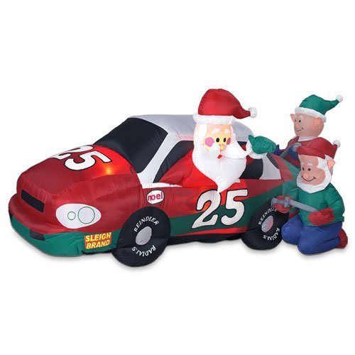 Christmas Holiday Airblown� Inflatable - Stock Car Santa with Elf Pit Crew (8FT)