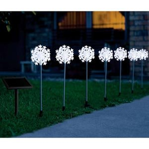 Christmas Holiday Solar Powered Snowflake Stakes (7 pcs.)