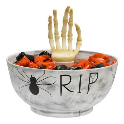 Halloween Animated Candy Bowl with Skeleton Hand