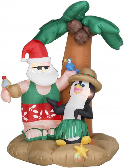 Christmas Airblown Inflatable - Santa and Penguin under Plam Tree